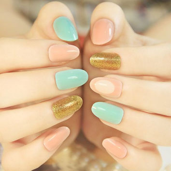 24 PCS Multicolor and Glitter Studded Artificial Nail Art