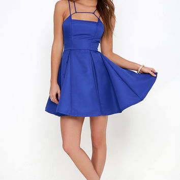 Gift of Rhyme Cobalt Blue Skater Dress