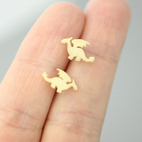 Dragon, Dragon Rider, How to train your dragon Pendant earring with silver post  -  Available color as listed ( Gold, Silver )