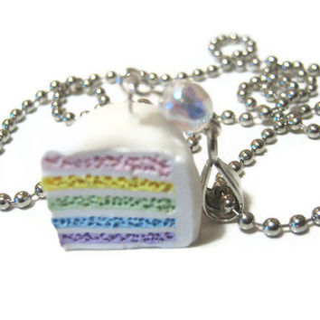 Pastel Rainbow Cake Necklace Polymer Clay Fake Miniature Food
