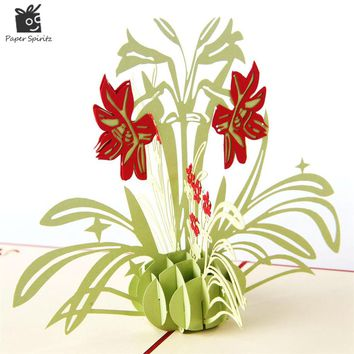 Daffodil flower 3D Pop UP paper laser cut Greeting & Gift Happy Birthday