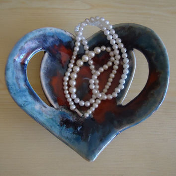 Ceramic heart plate. Table of other furniture centerpiece. Red and blue nuances. FREE SHIPPING!