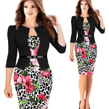 Women Dress Pencil Bodycon Dresses Floral Print Office Patchwork Vestidos Elegant Fake Two Piece Dress Plus Size 5XL