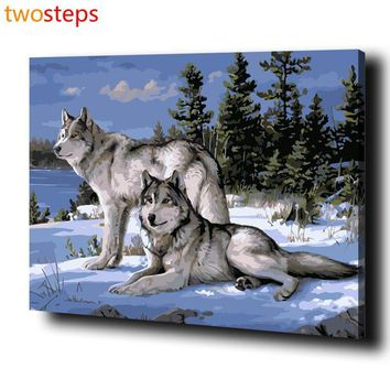 TwoSteps Wolf Couple Diy Digital Canvas Oil Painting By Numbers Pictures Coloring By Numbers Modern Acrylic Paint By Number Kits