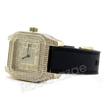 ICIKH7E Iced Out 14K Gold PT Square Shape Black Band Watch F67G
