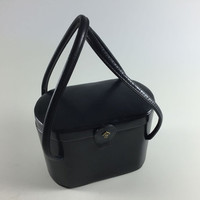 Vintage Black Box Style Purse Retro 1950's Black Pillbox Handbag By Ronay Evening Bag