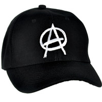 White Anarchy Sign Hat Baseball Cap Punk Rock Clothing