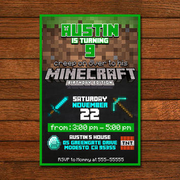 Minecraft Birthday Edition Invitation