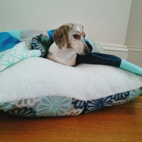 Floral Blue Teal Matching Dog Bed Cover Quilt Blanket Set