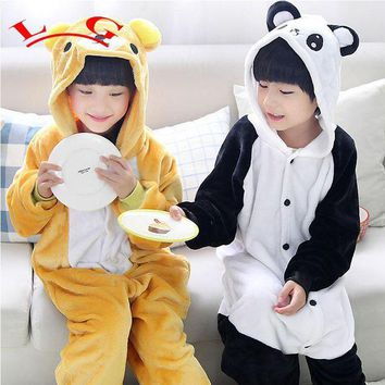 DCCKH6B L G Rilakkuma Onesuit Pajamas Kid Sleepsuit Anime Cosplay Costumes panda Jumpsuit Pyjamas Flannel Animal Children Sleepwear Homew