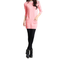 Pleated Stand Collar Dots Pattern Long Sleeve Pullover Sweater