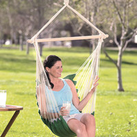 Swinging Hanging Chair Hammock Outdoor Rope Swing Padded Cotton Canvas