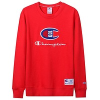 Champion 100th Anniversary Casual Casual Round Collar Sweater Red
