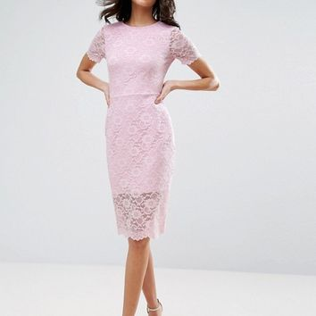ASOS Lace Scallop T-Shirt Midi Bodycon Dress at asos.com