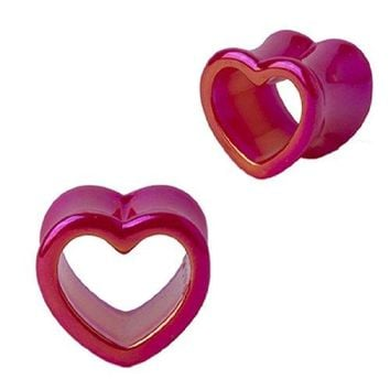 Plugs Acrylic Glossy Pink Heart Tunnel, Gauges Plugs 2G-14mm (2 Pieces)