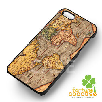 Vintage world map -5wN for iPhone 6S case, iPhone 5s case, iPhone 6 case, iPhone 4S, Samsung S6 Edge