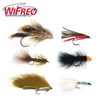 Wifreo 6PCS Trout Fly Fishing Flies Streamer Fly Muddler Egg Leech Peacock Zonkers Deceiver Minnow Shrimp Artificial Lure Bait