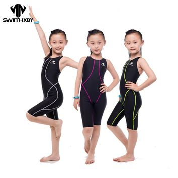 HXBY Racing Training Children Swimsuit For Girls Children's Swimwear Competition Kids Swimsuit One Piece Bathing Suits Body Suit