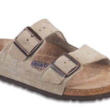 Women's Arizona Sandal in Taupe Suede with Soft Footbed by Birkenstock