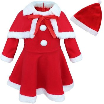 3Pcs Toddler Girls Kids Christmas Party Santa Claus Costume Dress + Shawl + Hat Outfits Sets