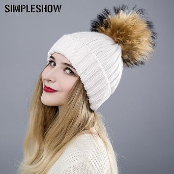 2017 Fashion Winter Hat For Women Skullies Beanies Pom Poms Warm Fluffy Ball Female Knitted Pompoms Girls Caps Women Warm Hats