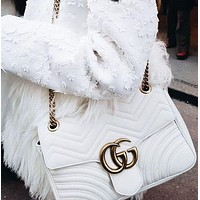 GUCCI Popular Women Leather Shoulder Bag Handbag Tote Crossbody Satchel White
