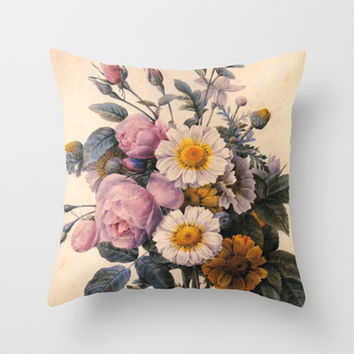 P.J.Redoute Vintage botanical illustration, rose flowering bouquet. Throw Pillow by ArtsCollection