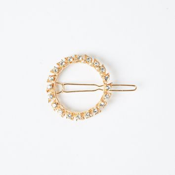 Golden Time Rhinestones Ring Hair Clip