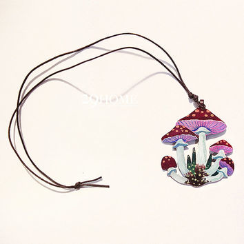 original hand-painted mushroom necklace jewelry for her him beautiful surprise gift 12