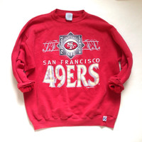 San Francisco 49ers NFL Vintage Red Crewneck Sweatshirt - National Football League SF 1992