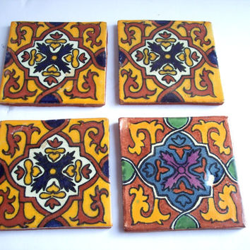 Vintage Talavera Mexican Tile Set of 4