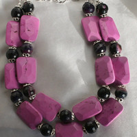 Chunky Dark Pink Magnesite Statement Necklace, Big Faceted Black Quartz Agate Jewelry, Bold Pink Turquoise Tibetan Silver Beaded Necklace,