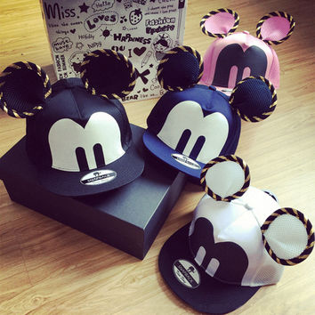 Cartoon Cute Big Mouse Ears Eyes Snapback Hat