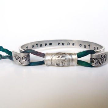 Personalized Medallion Wrap Bracelet, I Refuse to Sink Quote, Or YOUR Wording Inside Bracelet, Recycled Silver, Eco Friendly, 8 Colors