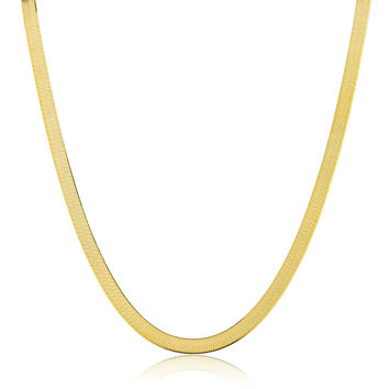 925 Sterling Silver Goldtone 5mm 20 Inch Herringbone Chain Necklace