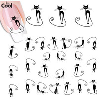 1sheet Cute Black Cat Nail Sticker Nail Art Water Transfer Decals DIY Beauty Polish Manicure Wraps Decoration Tools STZ-023
