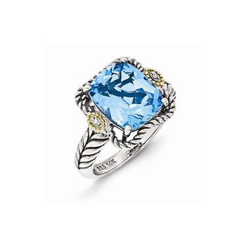 Sterling Silver w/14k Gold Antiqued Lt Swiss Blue Topaz and Diamond Ring