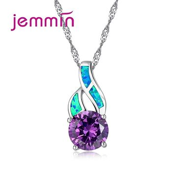 Jemmin Charming 925 Sterling Silver Blue Fire Opal Pendants Necklaces For Women Austrian Crystal Engagement Wedding Necklace