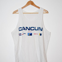 Vintage Early 90's Cancun Nautical Flag Men's White Tank Top