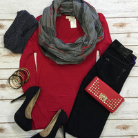 Long Sleeve Basic Scoop Tee: Red