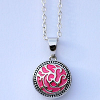 Pendant Noosa Style Silver Chunk Popper Snap On Rose Charm Necklace European Jewelry Interchangeable Button Included.