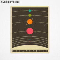 THE SOLAR SYSTEM, Retro Poster, Giclee Fine Art Print, Wall Art for the Home Decor by modern artist Jazzberry Blue