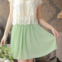 Light Green Ruffled Chiffon Pleated Mini Dresses