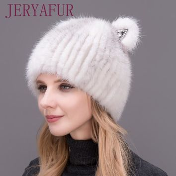 2017 New Mink Cat Ear Cap For Women And Girls, Warm And Lovely, Attractive Popular Hat Without Fox Fur, Vertical Weaving.