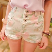 Vintage Inspired High Waist Floral Shorts from Moooh!!