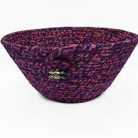 Pink and Purple Coiled Fabric Bowl, Basket