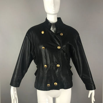 ViNtAgE 80s Black leather Military jacket lambskin Soft Nautical Coat Band 90s Grunge Biker