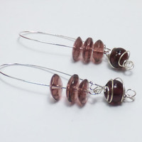Purple and Plum Purple Glass Beads on Long Silver-Plated Earwires