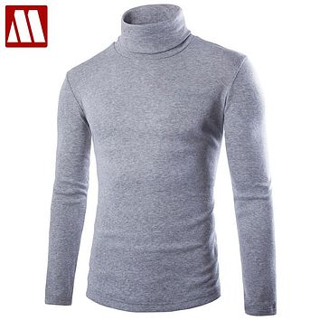 2017 Fall New Mens knitting shirt slim fit turtle neck knited T shirts slim fit Tops Cardigan clothings Asia Size S M L XL XXXL