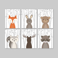 Baby Boy Nursery Art, Woodland Nursery Animals, Baby Room Decor, Forest Animal Prints, Set of 6 Fox Rabbit Bear Squirrel Moose Raccoon